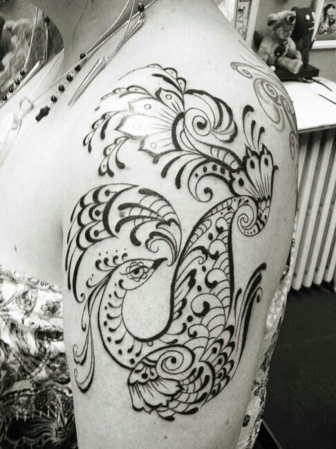 Tattoo, peacock, henna