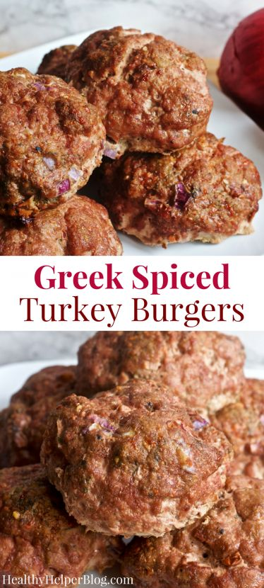 Greek Spiced Turkey Burgers | Healthy Helper @Healthy_Helper An easy turkey burger recipe with all the flavor of your favorite Greek foods! Gluten-free, paleo, and SO flavorful! You'll love these for an easy weeknight meal.