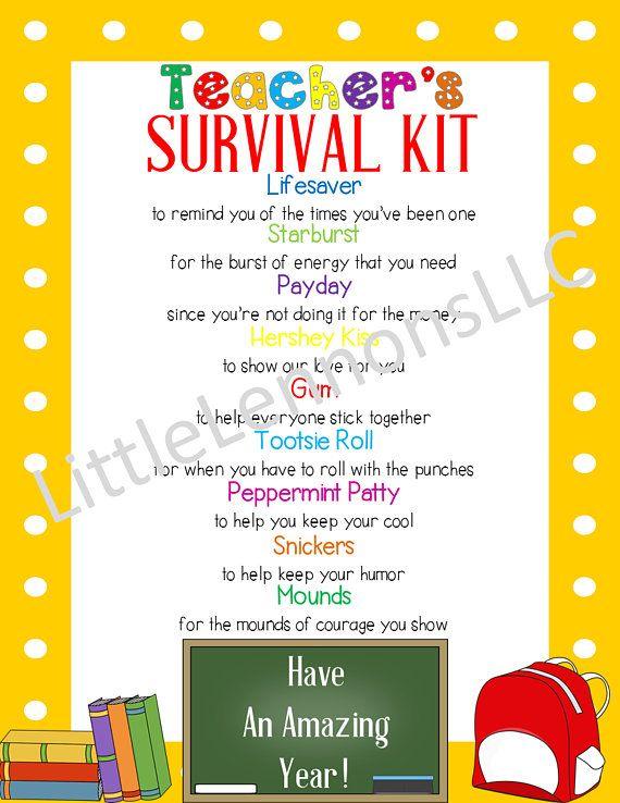 image regarding Teacher Survival Kit Printable titled Electronic Down load Academics Survival Package Printable, instructor