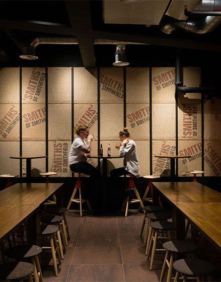 Smiths of Smithfield, Cannon Street, The Manser Practice #restaurants #interiors #design #steak #food #tiling #lighting #seating #bar #cannon #London #eat