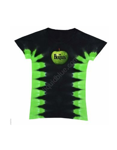The Beatles Apple Corps Logo Womens T-Shirt - This black and green tie dye t-shirt features the iconic Beatles Apple Corps logo printed on its front.