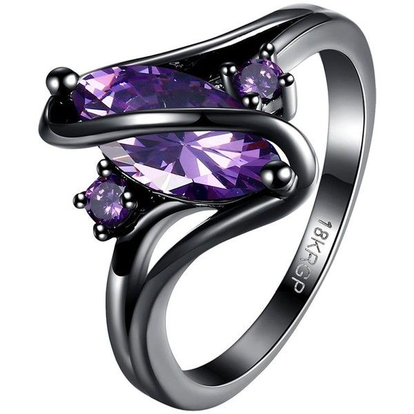 BOHG Jewelry Womens Black Gold Plated Purple Amethyst Cubic Zirconia... ($10) ❤ liked on Polyvore featuring jewelry, rings, cubic zirconia engagement rings, amethyst jewelry, amethyst stone ring, purple amethyst ring and cz engagement rings