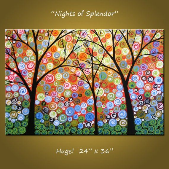 Large Wall Art / Modern Abstract Living Room Decor / Landscape Tree Painting / Large Painting / Rainbow Art Wall Decor / Nights of Splendor  ------------------------------------------------------------ This is a commission piece, please allow me about 7 days to complete your custom painting. Thank you! ------------------------------------------------------------  Title......... Nights of Splendor Size..........24 x 36 Medium........Professional grade acrylics on galle...