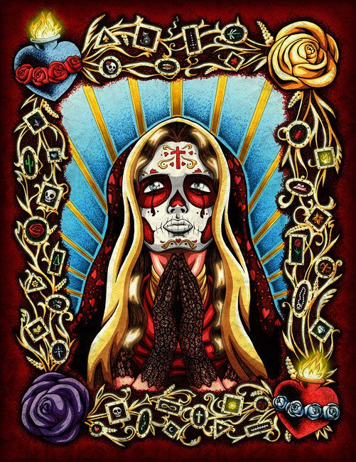 11 x 14 Praying Day of the Dead Art Print  by NicholasIvins, $30.00
