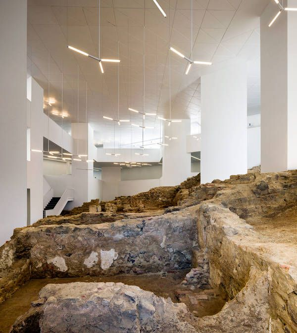 Public Library in Ceuta, Spain, By Paredes Pedrosa. Ruins and modern in conjunction.