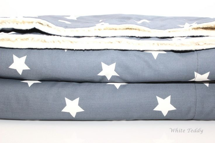 Tagesdecken - Kuscheldecke XXL ★ Maxi Sterne ★ grau/weiss - ein Designerstück von WhiteTeddy bei DaWanda