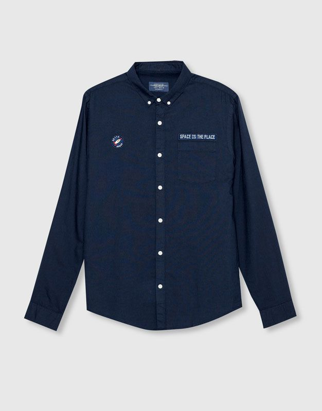 Pull&Bear - man - new - clothing - oxford shirt patches - blue…
