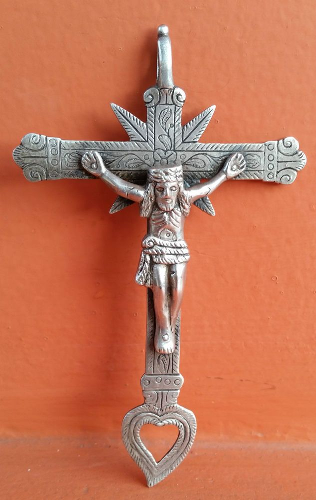 """Antique Genuine Colonial Cross Crucifix Spanish Sterling Silver 4.25""""  1800s"""