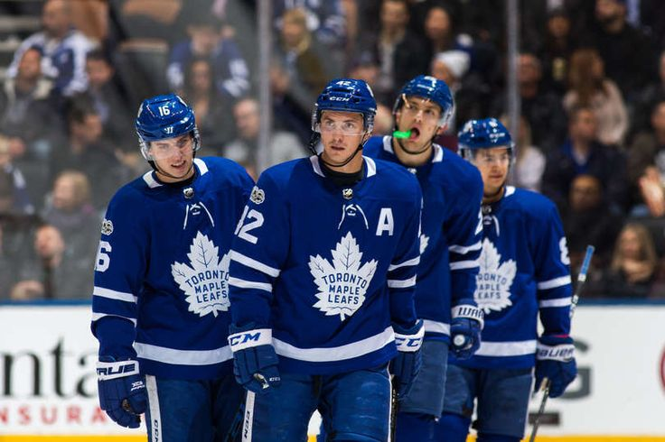 Leafs Mobile: TORONTO, ON - NOVEMBER 16: Mitchell Marner #16 of the Toronto Maple Leafs, Tyler Bozak #42, James van Riemsdyk #25 and Connor Carrick #8 skate to the bench against the New Jersey Devils during the second period at the Air Canada Centre on November 16, 2017 in Toronto, Ontario, Canada. (Photo by Kevin Sousa/NHLI via Getty Images)