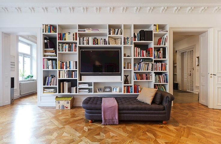 tv less obvious with bookshelves