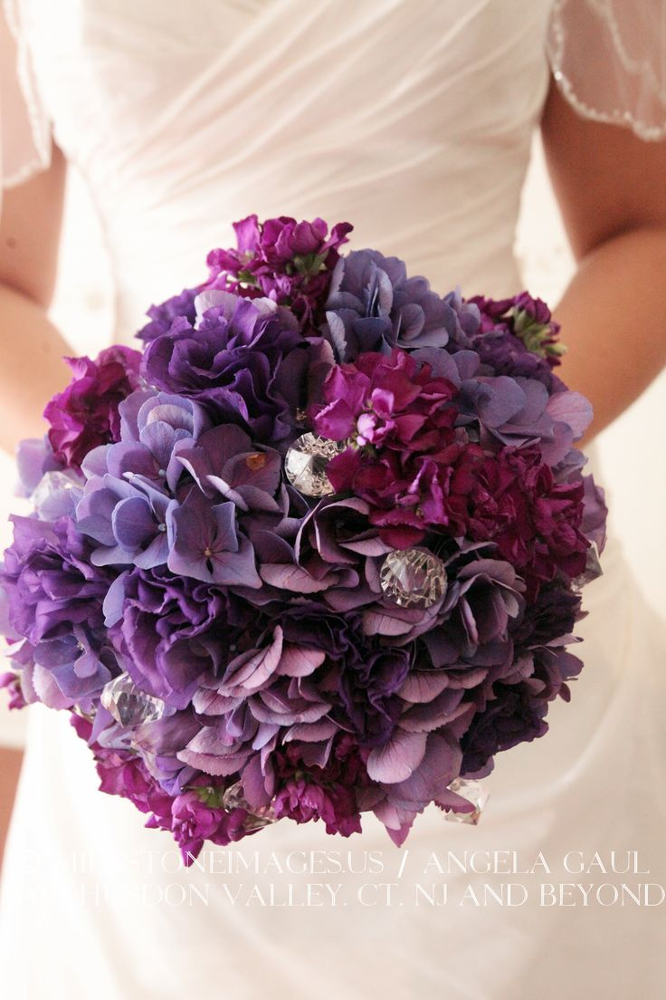 Purple hydrangea bouquet with crystals real wedding