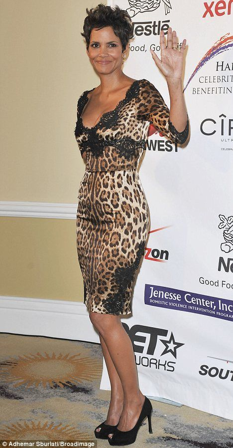 Halle Berry shows her wild side in lacy leopard print dress for charity gala. #diabetes