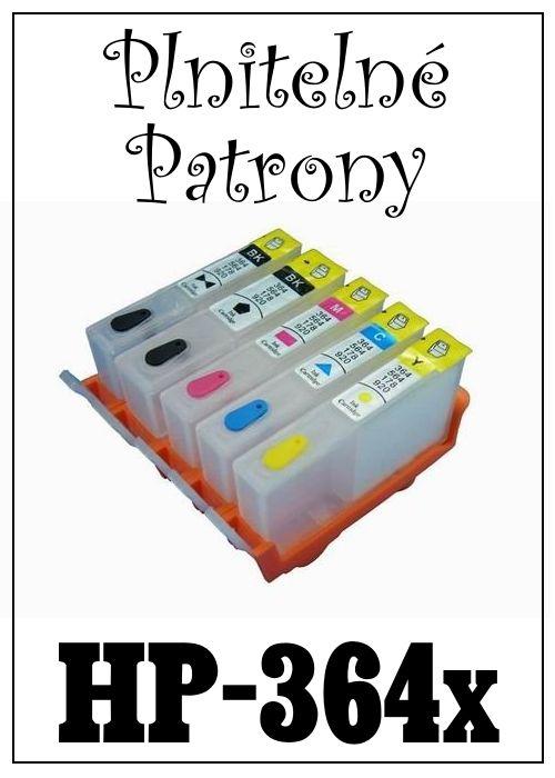 Inkoust do tiskárny  HP-364x za bezva cenu 180 Kč / 100 ml / 1 barva, plnitelné patrony bez čipu za 260 Kč nebo s čipem za 490 Kč (ceny za sadu 5 patron).