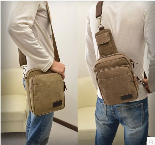New arrival male sports type multifunctional outdoor canvas bag man bag one shoulder cross-body bag small