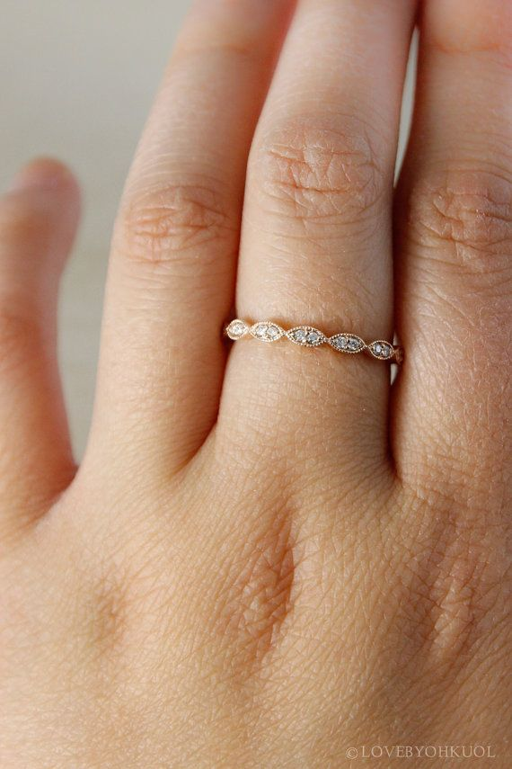 Rose Gold Wedding Band Double Diamond Milgrain by lovebyohkuol
