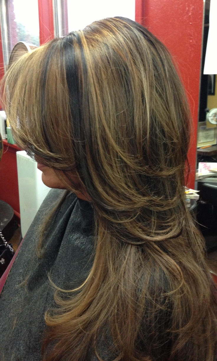 Dark hair with caramel highlights. @Kasey Collins Collins Collins Cacciottolo color for me?