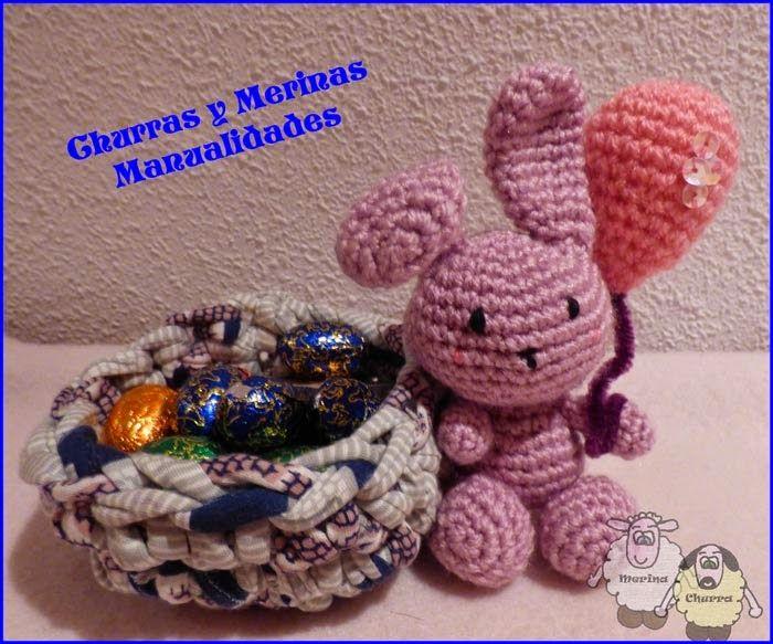 Churras y Merinas Manualidades Conejitos de Pascua amigurumi y cestas de trapillo. Freepattern