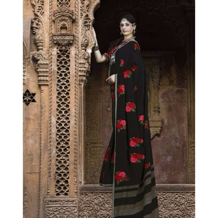 Black Georgette Party Wear #Saree With Blouse- $145.32