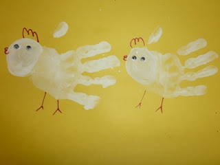 hand print paint chickens