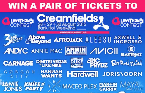 Contest: Win A Pair of Tickets to Creamfields - http://blog.lessthan3.com/2015/06/contest-win-pair-tickets-creamfields/ contest, creamfields Event