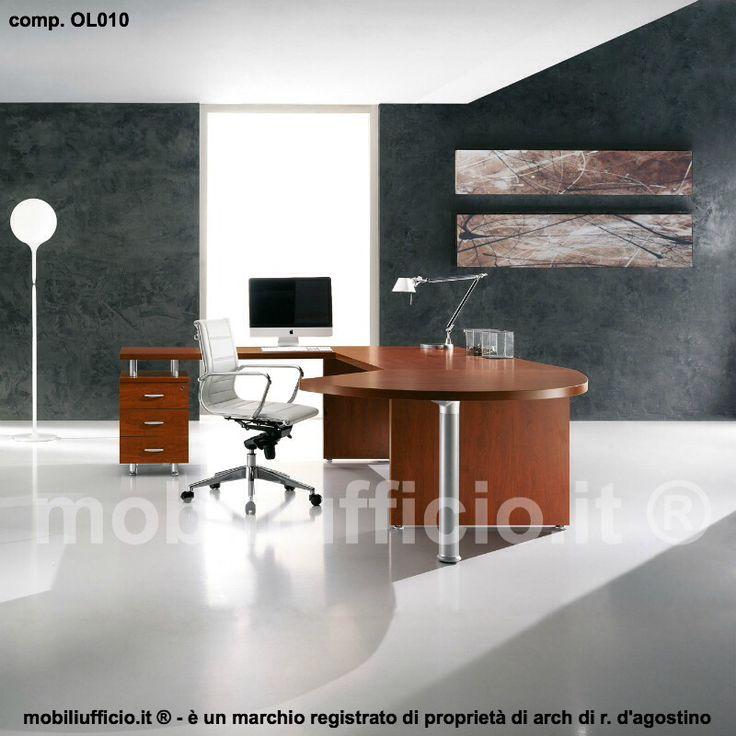 comp. OL010 - #scrivania per ufficio #direzionale con tavolo #dattilo in appoggio su #cassettiera portante e penisola terminale sagomata
