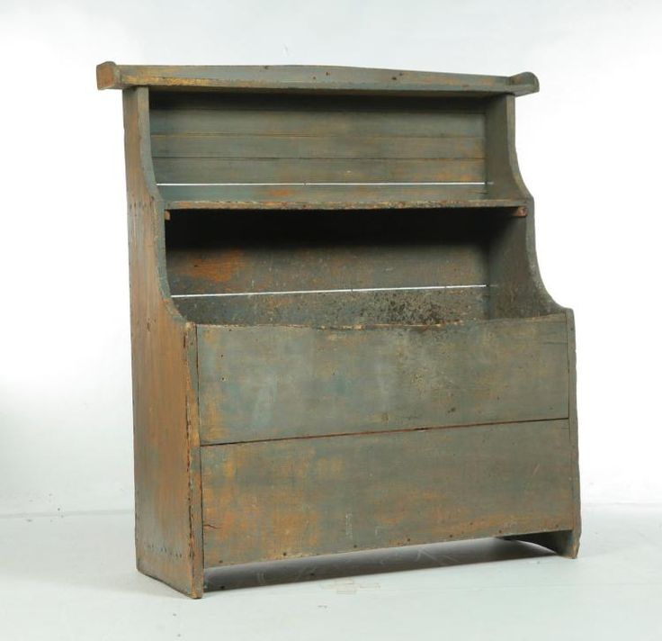 PAINTED PRIMITIVE HIGH BACK WOOD BIN. for sale this Dec 4th at Garth's Auction