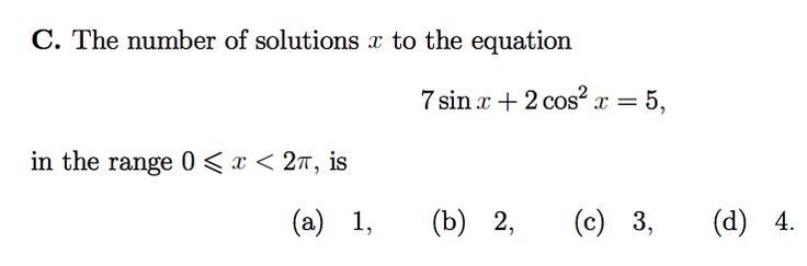 MAT 2007 QC - number of solutions to trig eqn
