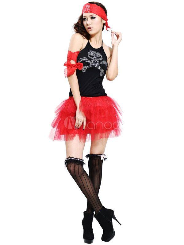 黒・赤の海賊マルディグラのポリエステル コスチューム大人用