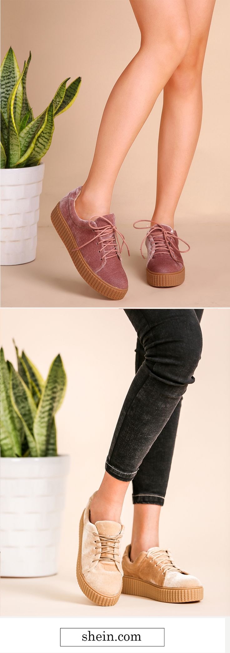 Velvet Lace Up Rubber Sole Sneakers