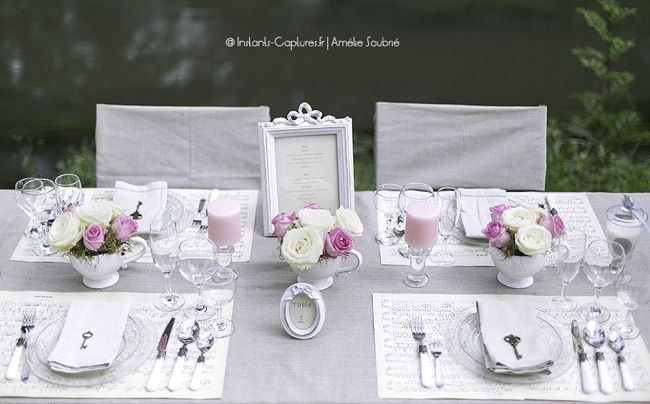 d coration de table romantique petites tables d 39 amour pinterest mariage shabby et chic. Black Bedroom Furniture Sets. Home Design Ideas