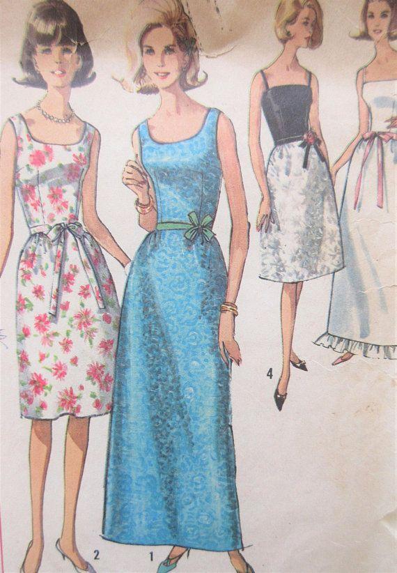Vintage Simplicity 6002 Sewing Pattern 1960s Dress Pattern A Line