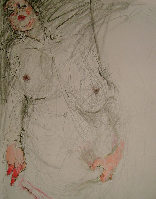 Jenny saville - uncentral use of red draws attention, contrasts to simplicity of the black lines