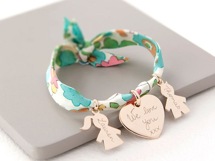 Mother's Personalised 18K Gold Plated Liberty Bracelet. http://www.mercimamanboutique.com/her/the-liberty-family-bracelet