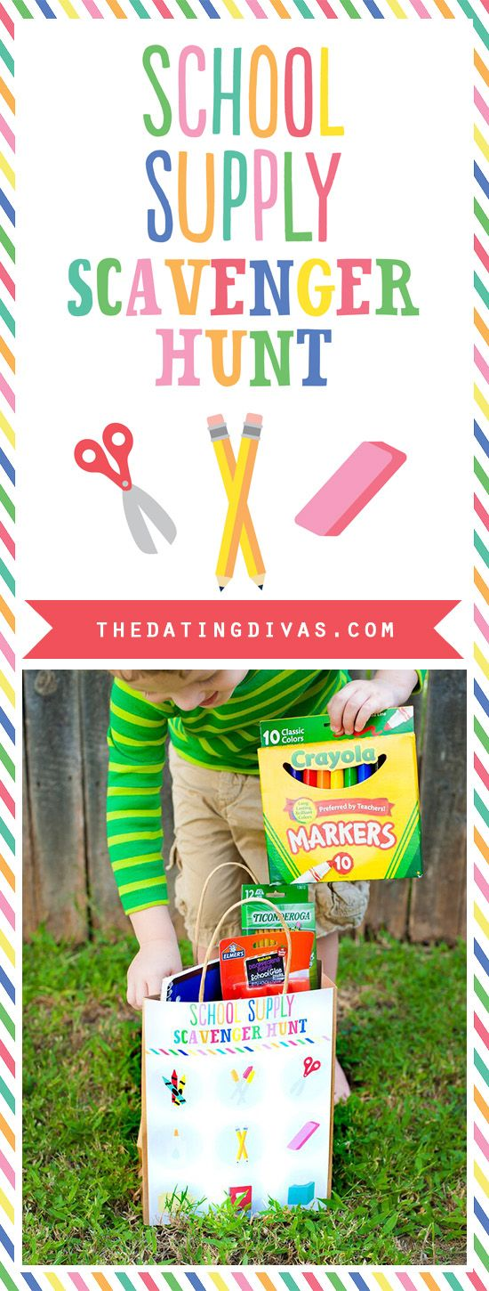 Free printable clue cards and bag covers for a school supply scavenger hunt.  What a fun and easy way to get the kids excited for back to school.  Gotta buy them anyway, might as well make it fun.   www.TheDatingDivas.com