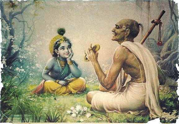 krishna listening to songs from his devotee