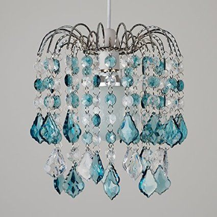 Modern Waterfall Design Ceiling Pendant Light Shade with Teal & Clear Acrylic Jewel Effect Droplets