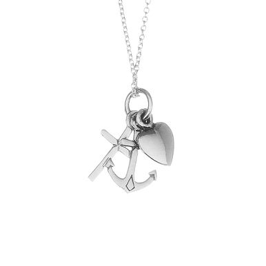 | Calming trio charm necklace, featuring a heart, anchor and cross, handcrafted in precious sterling silver | #sterlingsilver #necklace #dainty #charmnecklace www.pinchandfold.com