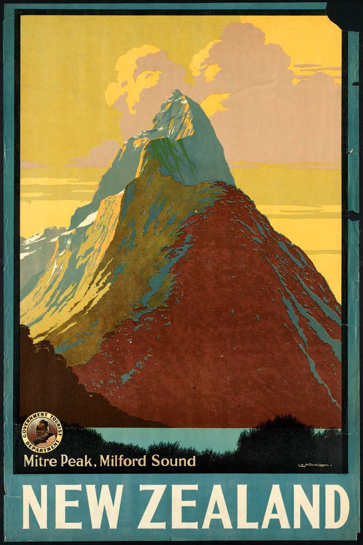 New Zealand, vintage travel poster