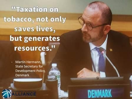 The Representative of Denmark touts tobacco taxation as a potential revenue source to fund the Sustainable Development Goals (SDGs). September, 2105.