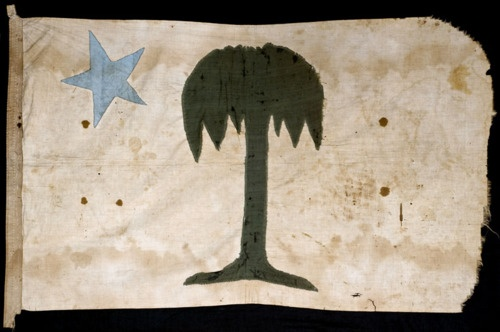 South Carolina militia flag, probably Palmetto Guard, c. 1862. Palmetto Guard is a common nickname for Confederate units but research suggests that, in this case, it refers to the artillery company that was added to the 18th Battalion, South Carolina Artillery in July 1862. Charleston Museum        There is a similar Palmetto Guard flag at Fort Sumter National Monument that was carried by Private John Bird as the company flag beginning in December 1860. (pinned on this board)