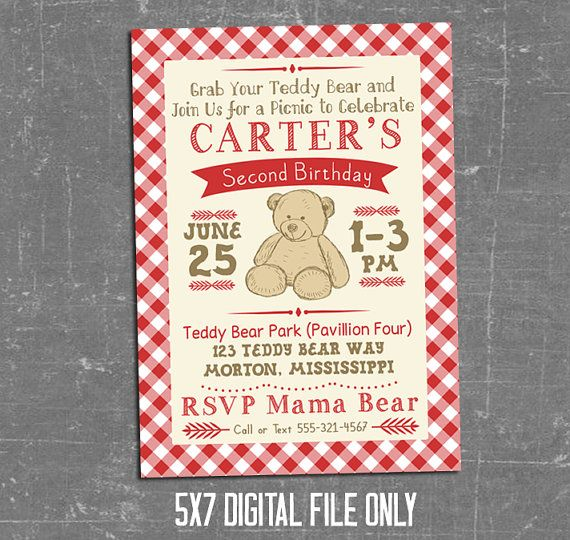 Teddy Bear Picnic Theme for a boy or girl birthday is so adorable! Wording/Colors can be changed to fit your theme! • • • • • • • • • • • • • • •