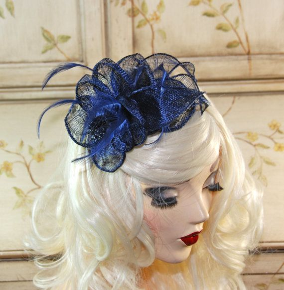 Navy Blue Wedding Fascinator  Navy Mini by MadameMerrywidow