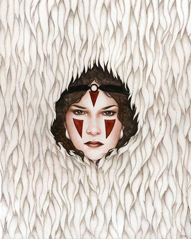 Happy birthday Hayao Miyazaki! Here's a piece I did 3 years ago inspired by Princess Mononoke. I'm loving my seeing so much Studio Ghibli art today! #hayaomiyazaki #princessmononoke #studioghibli #watercolor