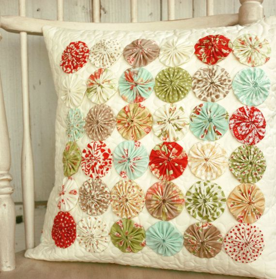 Modern Vintage Pillows : Vintage Modern Yoyo Pillow cover - Ready to Ship Colors, Pillow covers and Pillows