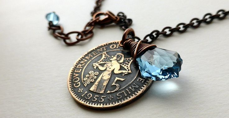 Coin necklace, Cypriot necklace, Swarovski necklace, Aquamarine pendant, Coins, Bronze necklace, Coin jewelry, Coin pendant, Cyprus, 1955 by CoinStories on Etsy
