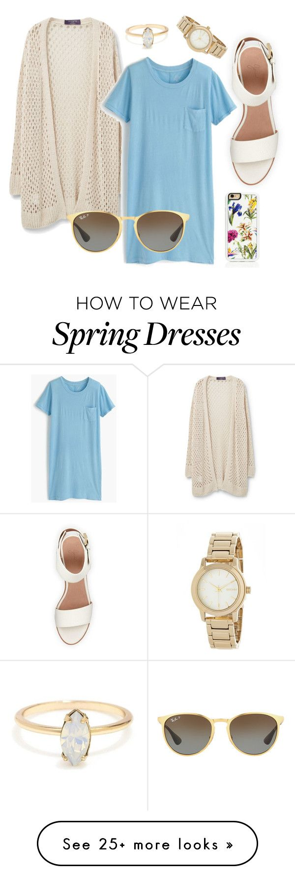 Im feeling: spring. by lilynewton on Polyvore featuring Violeta by Mango, BEA, J.Crew, Trelise Cooper, Ray-Ban and DKNY
