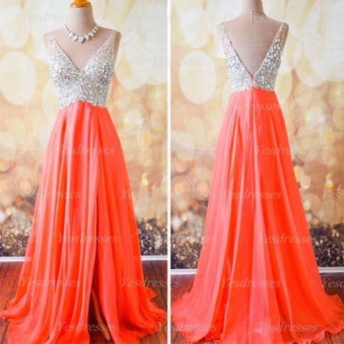 Prom Dress, Orange Dress, Long Dress, Off Shoulder Dress, V Neck Dress, Long Prom Dress, Dress Prom, Orange Prom Dress