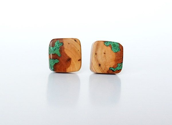 Cufflinks from pear tree and malachite, wooden cufflinks, wooden cufflinks with malachite inlay by Mazunii on Etsy