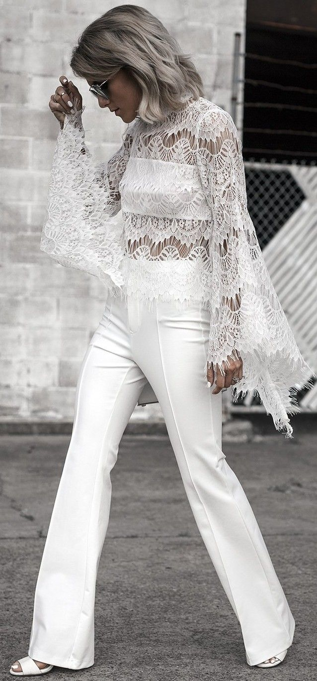 #fall #street #style   All White + Lace + Bell