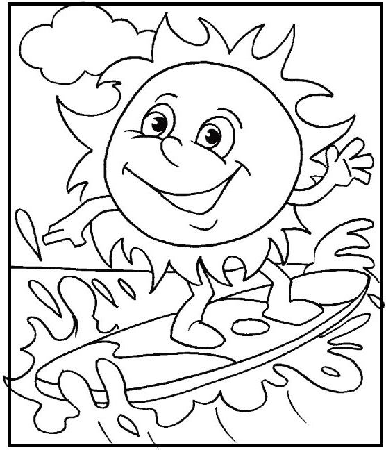 Sun playing surfing on beach coloring picture for kids for Surfing coloring pages printable